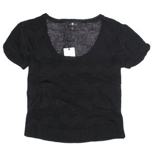 7 For All Mankind Short Sleeve Scoop Neck Sweater
